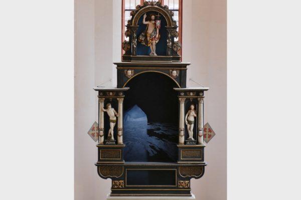 Das temporäre Altarbild von Gerhard Rießbeck für die Spitalkirche Bad Windsheim.