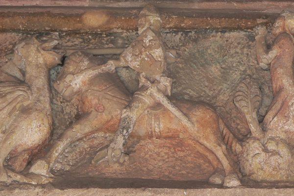 Relief an der Wehrkirche Nürnberg-Kraftshof.
