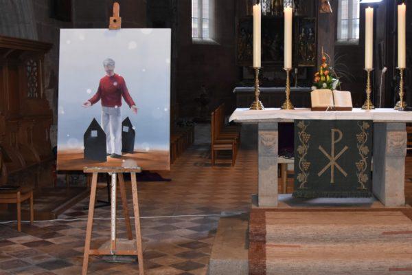 Werk von Gerhard Rießbeck beim ichtmess-Gottesdienst 2021 im Heilsbronner Münster.