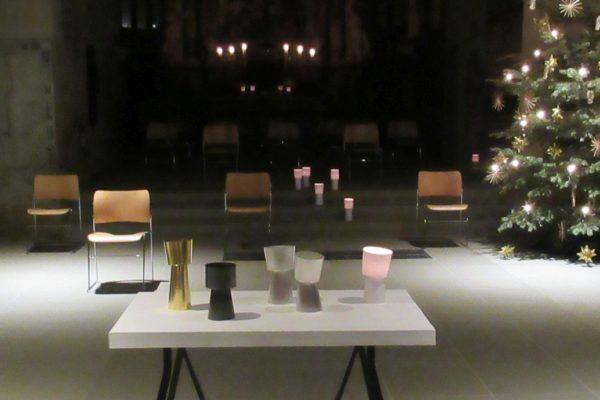 Werke der Künstlerin Juliane Schölß beim Lichtmess-Gottesdienst 2021 in Schweinfurt Sankt Johannis..